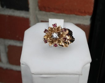 Very Vintage Petite 14k Yellow Gold Natural Ruby & Diamond Blooming Flower Ring