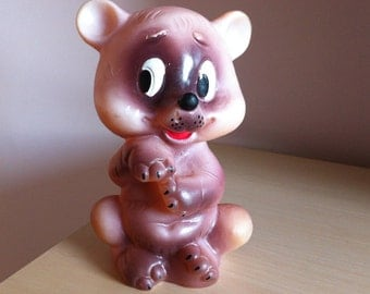 Soviet Vintage Toy Teddy Bear, Soviet Rubber Toy, Squeaky Rubber Toy, made in USSR