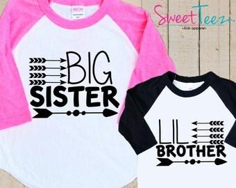 Hip Arrow Big Sister Shirt Set Little brother Shirt SET Raglan 3/4th Sleeve Shirt Toddler Youth Sibling Shirts