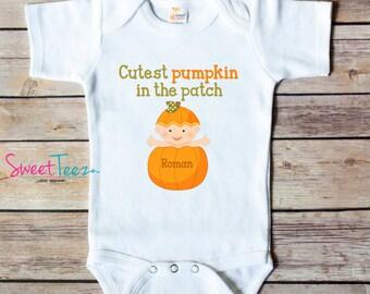 Pumpkin Patch Shirt Cutest Pumpkin Shirt Baby Bodysuit Personalized with Name