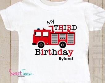 FireTruck Birthday Shirt Boy Fire truck Truck Personalized First Birthday Second Birthday third birthday Shirt for Boys