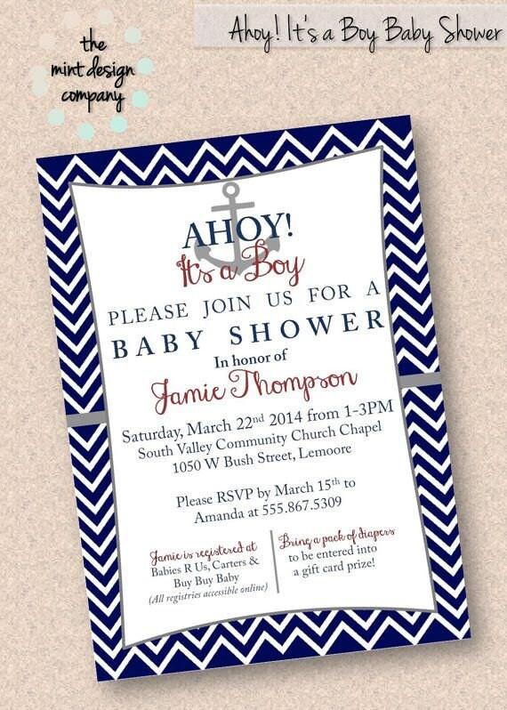 ahoy it 39 s a boy nautical baby shower invitation digital design