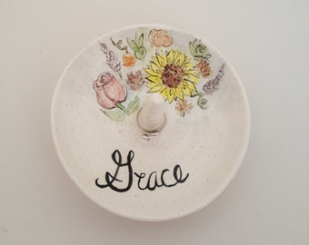 Hand Made Wild Flower Ring Holder; Personalized  Jewelry Dish