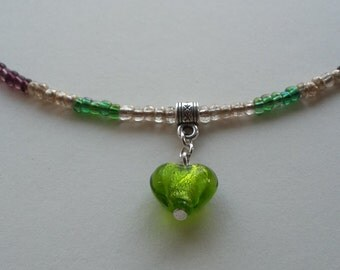 Purple, Gold and Green Necklace with Green Heart Charm