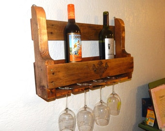 Reclaimed Pallet Wood Wine Rack - Natural (Medium: 6 Bottles / 4 Glasses)