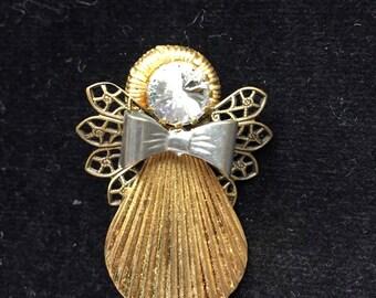 Gold Metal and Rhinestone Angel Pin