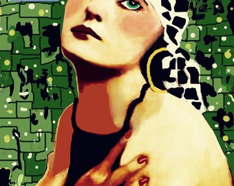 Art Nouveau Girl Giclee Print or Trading Card