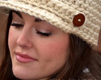 Crochet Newsboy Hat, Womens Hat, Brimmed Beanie, Womens Accessories, Newsboy Cap
