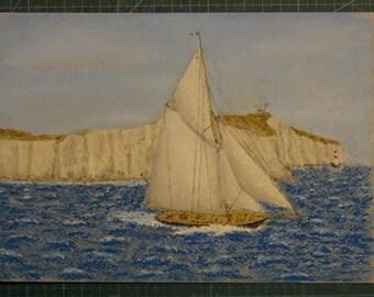 "Seascape Along the cliffs of Dover... - pastel, 15x21 cm (6""x8.5 ""), seascape, Dover, lighthouse, sea, yachts"