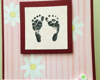 Baby Girl Card, handmade card, baby card, pastel card, pink card, baby arrival, MADE TO ORDER