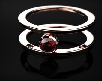 Rose Gold Engagement Ring Garnet Engagement Ring Red Gemstone Engagement Ring Gold Garnet Ring January Birthstone