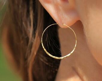 Large Hoop Earrings, Gold Filled Hoop Earrings, Hammered Hoop Earrings, Hoop Earrings, Large Hoop Earrings, Gold Hammered Earrings