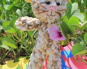 Plush brown crochet cat