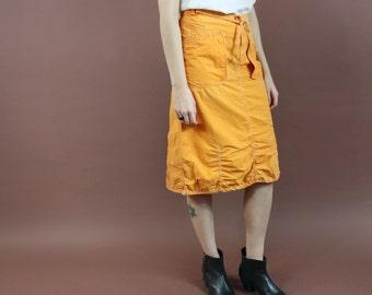 vintage 90s orange OILILY adjustable toggle sporty parachute midi skirt