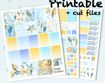 Seahorse with Silhouette Cut Files and JPEG's / Printable Planner Stickers / Erin Condren Vertical Life Planner