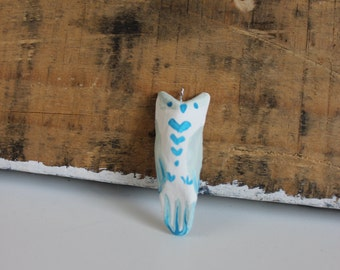 Painted clay owl pendant-teal/mint