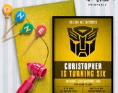 Autobots Invitation | 5x7 | Editable PDF File | Instant Download | Personalize at home with Adobe Reader