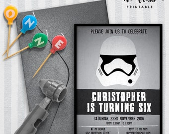 Stormtrooper Invitation | Birthday | 5x7 | Editable PDF File | Instant Download | Personalize at home with Adobe Reader