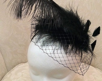 Black Feather Fascinator with Black Veil