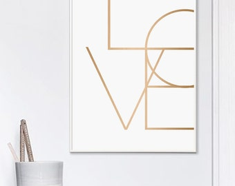 Love Print, Love, Love Poster, Love Cooper, Copper Print, Love Gold, Love Typography, Love Printable, Love Art, Modern Typography
