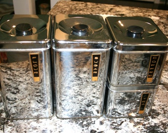 Lincoln BeautyWare Canisters//Chrome Canisters//Set of Four Canisters//Vintage Chrome Canisters