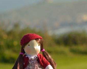 handmade crochet Garnet Beanie doll