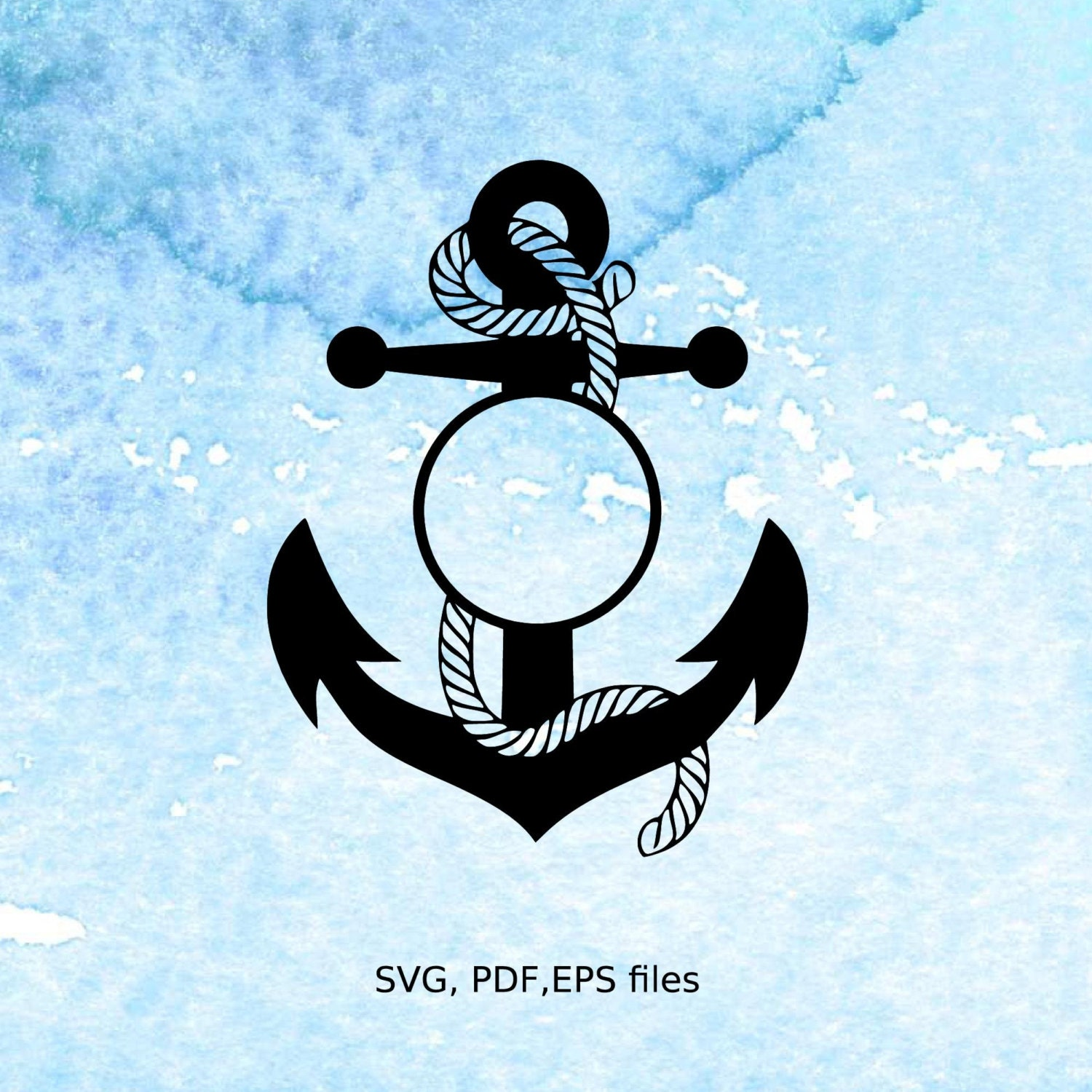 Anchor Circle Monogram SVG Rope Nautical Monogram Frame