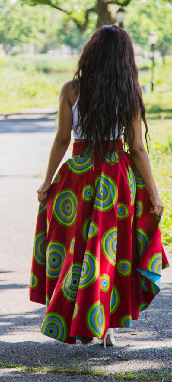 High Low Ankara Skirt- Red