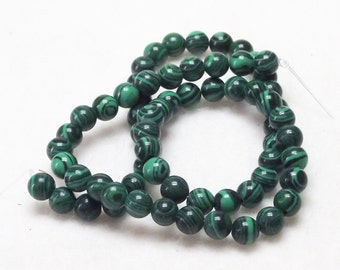 "Very Nice 15"" Strand of 6mm Round Malachite Dyed Stone Beads With Rich Green Colors"