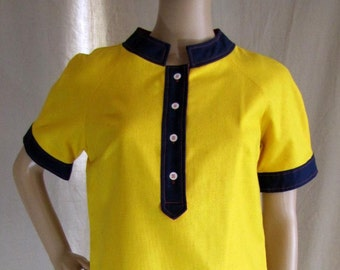 1970'S Mod Shift Dress Lord and Taylor Yellow, 1960's, 1970's, Cotton, Color Block, Modern, Shift Dress, Chemise, A-line, Medium, Large