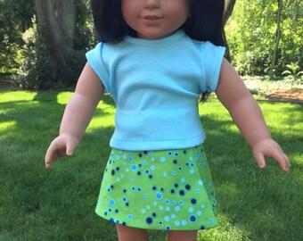 American Girl doll T-shirt, basic t-shirt, shirt,  American girl doll top, American Girl basic t-shirt, shirt, Aqua
