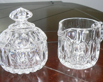 Crystal sugar bowl and creamer jug