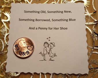 Wedding Day Lucky Penny, Lucky penny for her shoe, Bride gift, keepsake gift, couple gift, anniversary gift, personalized engagement gift