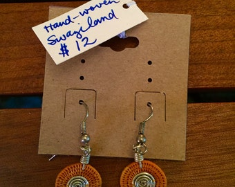African handwoven circle earrings