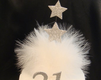 a star white feather any age cake topper