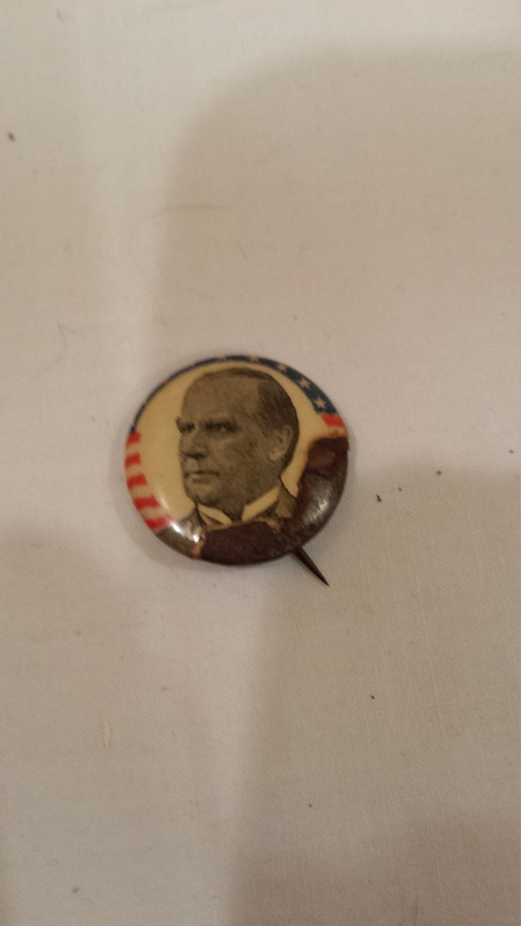 Vintage 1896 William McKinley Political Celluloid Pin by The Whitehead & Hoag Co.