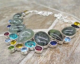 Moss Agate Blue Topaz Citrine Garnet Sterling Silver Necklace