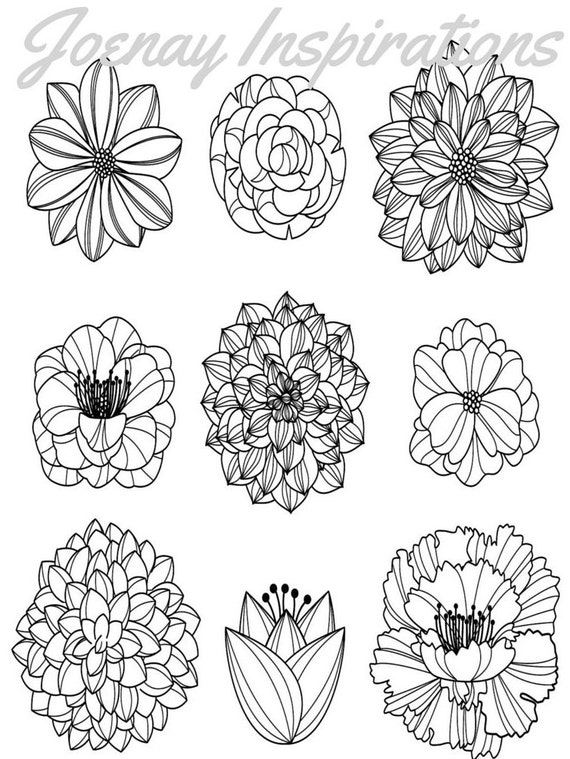 Adult Coloring Book, Printable Coloring Pages, Coloring Pages, Coloring Book for Adults, Instant Download, Fancy Flowers 1 page 16