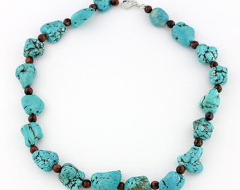 Turquoise and Utah Sunstone Necklace, odd sized Hoplite Turquoise chunks, silver tone clasp. KT8938/15