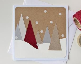 Handmade Christmas Tree Card - Christmas Modern Card - Xmas Card - Seasonal Card - Christmas Greeting Card - Winter - Snow