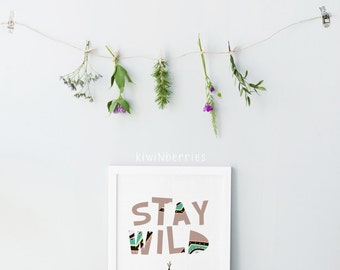 Stay wild typography nursery art print -  Woodland nursery prints - Stay wild nursery decor - Printable art nursery - Nursery art print