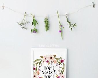 Home sweet home print - Home sweet home printable - Watercolor floral wreath print - Bohemian watercolor print - Printable wall art