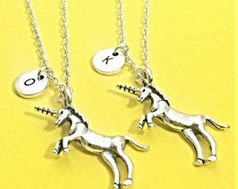 925 Sterling Silver,best friend necklace,unicorn necklace,unicorn charm,set of 2 bff,friendship jewelry,personalized,silver unicorn,bff gift