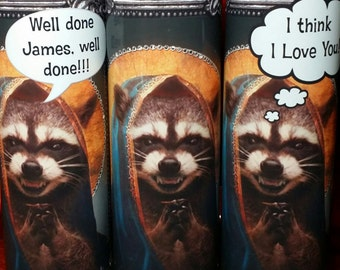 Raccoon crazy Pet Saint Prayer Candles - Add your own message!  Pests or Pets!