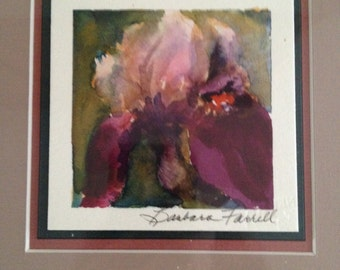 Purple Iris Small Square Matted Unframed Original Watercolor; Signed by the Artist - Barbara Farrell