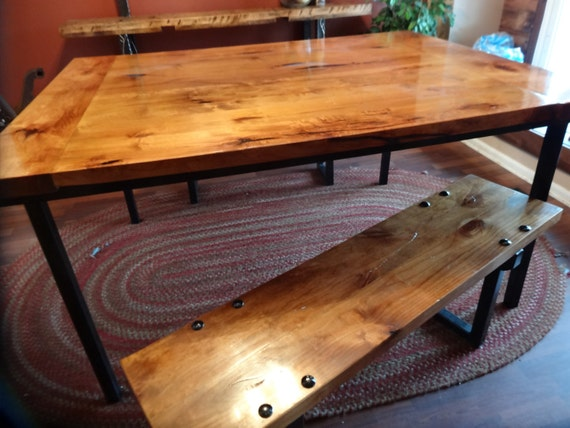 Handcrafted Farmhouse table and matching benches
