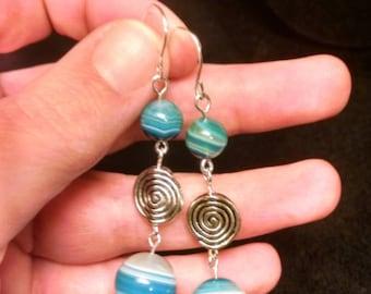 Blue Banded Agate Earrings