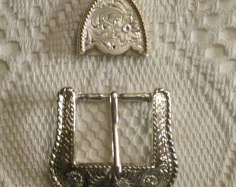 Western Cowboy/ Cowgirl Vintage Belt Buckle  and Tip---Silver Tone