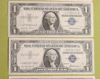 Silver Certificates--1957--  Star Notes--One Dollar  ---Four (4)  Bills-- Blue Seal