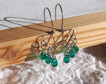 Emerald Tears - surgical steel earrings with Czech emerald glass drops